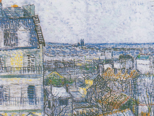 view from van Gogh's room on rue Lepic